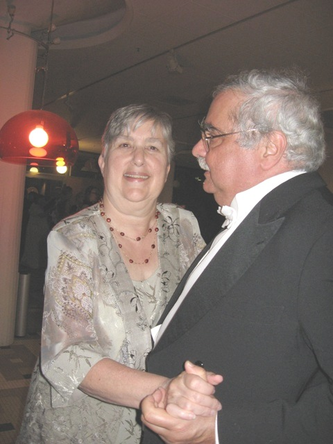 Barry dancing with Carmel at the post-banquet bash
