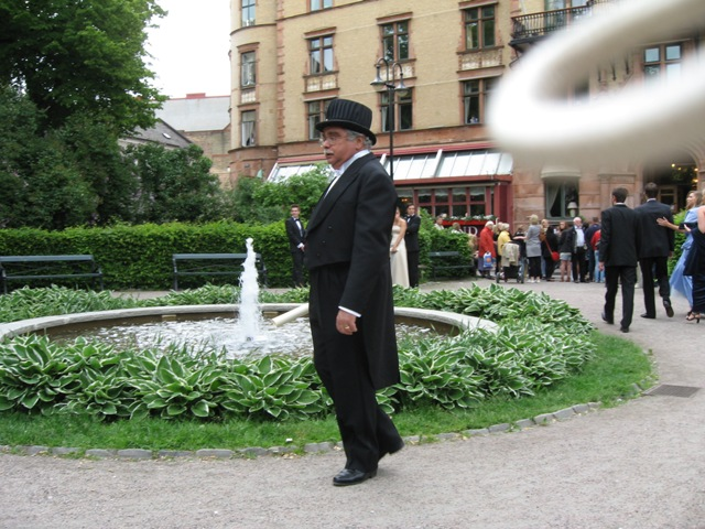 Barry in front of the Grand Hotel after the ceremony